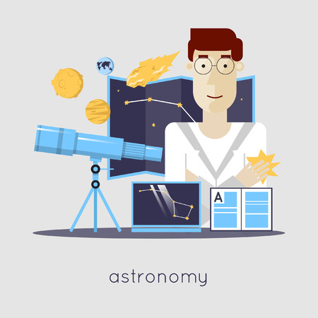 science lab: Scientist in laboratory astronomy laboratory workspace and science equipment concept. Flat design vector illustration.