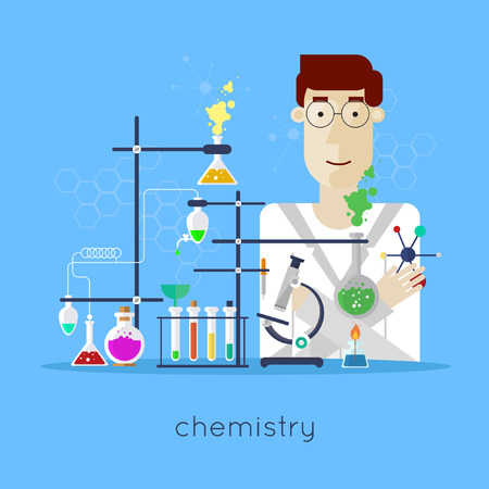 laboratory equipment: Scientist in laboratory chemistry laboratory workspace and science equipment concept. Flat design vector illustration.