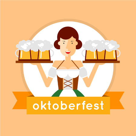 pretty blonde girl: Oktoberfest woman holding a beer. Flat style vector illustration.