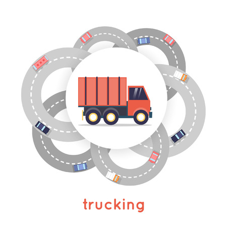 trucking: Trucking. Truck and many ways to deliver the goods. Flat design vector illustration.