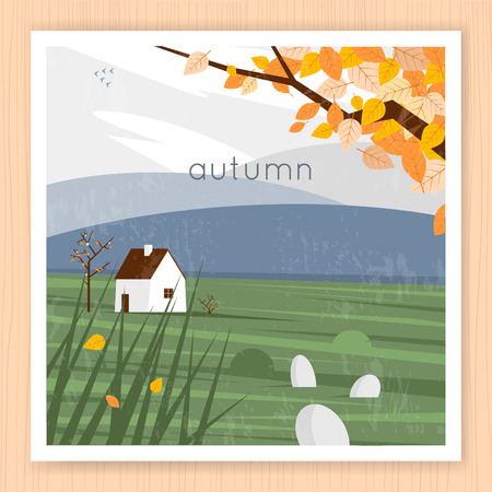 field and sky: Autumn landscape with the house and leaves in the background of the mountains. Flat design vector illustration. Illustration
