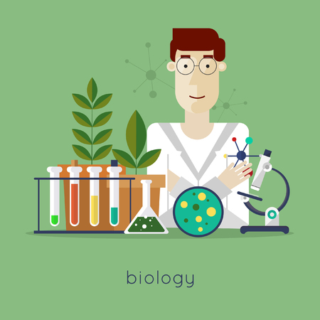 to a scientist: Scientist in laboratory biology laboratory workspace and science equipment concept. Flat design vector illustration. Illustration