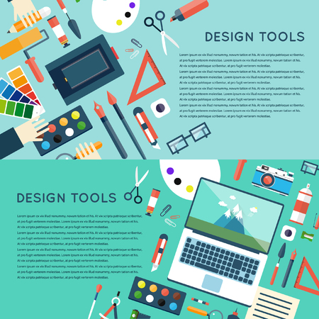 work table: Designer office work space with tools.  design, web site construction. 2 banners. Top view banner. Flat design vector illustration.
