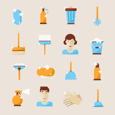 plastic bottles: Cleaning and hygiene tools. Set of icons.Vacuum cleaner, detergent, sponge, trowel, squeegee. Flat design vector illustration.