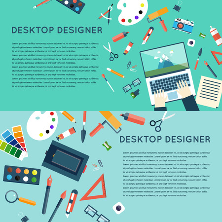 office construction: Designer office works pace with tools. Logo design, web site construction. 2 banners. Top view banner. Flat design vector illustration.