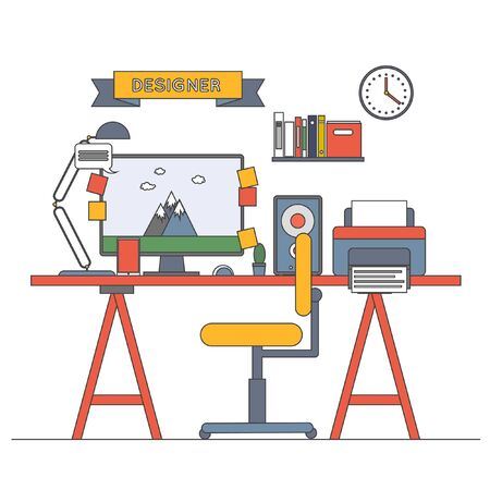 pace: Thin line vector illustration concept of creative office works pace, workplace.