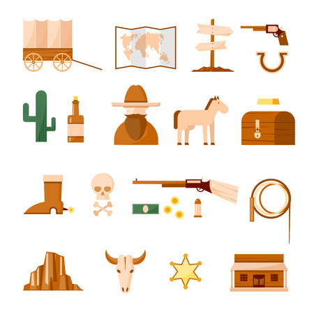 rodeo cowboy: Wild west set of icons. Flat design vector illustration. Illustration