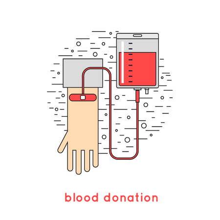 healthier: Thin line Blood donation icons flat style.
