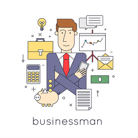character design: Thin line Successful businessman character with set of icons vector illustration .. Flat design vector illustration.
