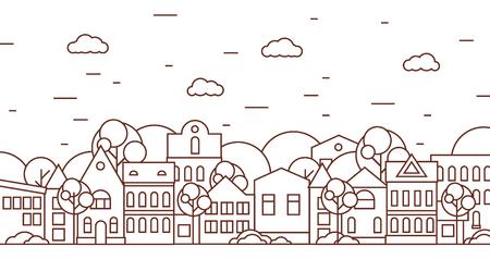 검은 색과 흰색 나무와가는 선 도시 풍경. 플랫 디자인 벡터 일러스트 레이 션.