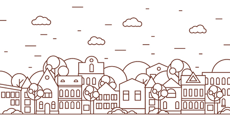 Thin line city landscape with trees black and white. Flat design vector illustration.
