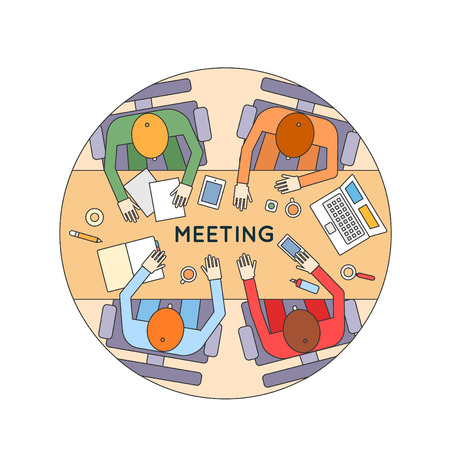 strategy meeting: Thin line Business meeting and brainstorming. Team work. Business strategy, planning, analytics, management, consulting, meeting, career. Development process. Top view. Flat design illustration. Illustration