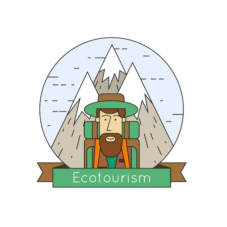 tourists: Thin line Character mountains in the background and icons Eco-tourism. Tourist. Flat design.