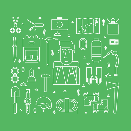 boots: Thin line vector illustration mountaineer, mountain climbing, rock climber. Extreme sport. Icons set. Flat style. Illustration