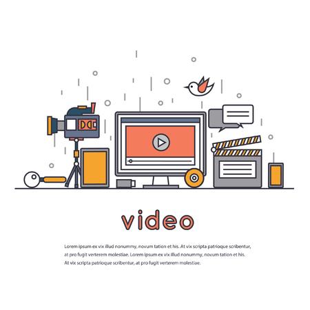 Macchina fotografica: Linea sottile Video marketing. Multimedia. Desktop, area di lavoro, posto di lavoro. Set di design piatto illustrazione vettoriale. Vettoriali