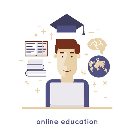 educated: On-line education, online learning, on-line training courses, university, tutorials. Man is educated through the Internet. Flat design vector illustration.