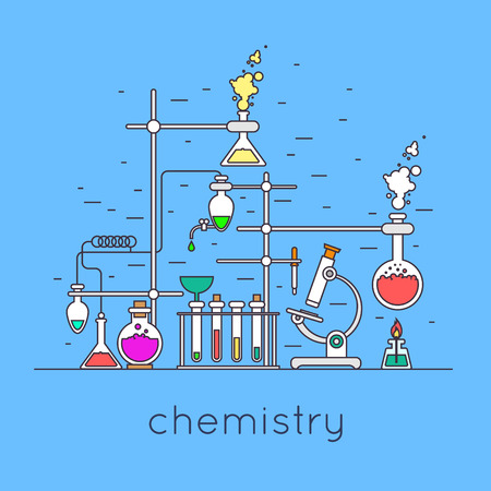 laboratory equipment: Thin line chemistry laboratory workspace and science equipment concept. Flat design vector illustration.