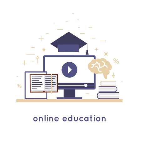 online education: On-line education, online learning, on-line training courses, university, tutorials. Flat design vector illustration.