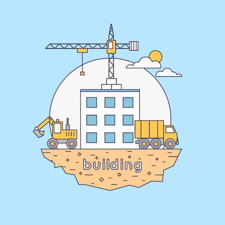 building site: Thin line Construction. Truck and excavator on a construction site. Building a house. Flat icons vector illustration.