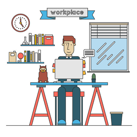 diary: Thin line man working on the computer Vector illustration concept of creative office workspace, workplace. Flat design.
