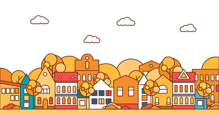 Thin line city landscape with trees. Flat design vector illustration.