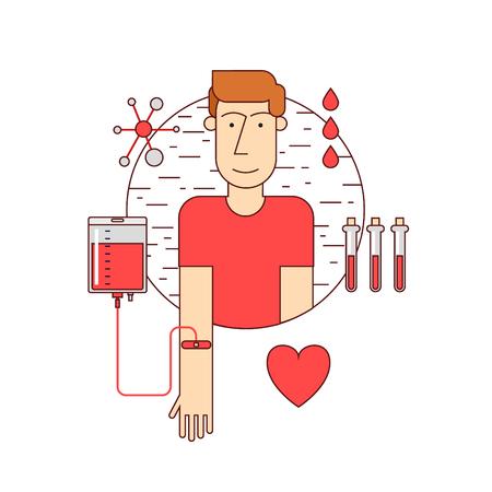 red blood cell: Línea Thin Man dona sangre. Donación de sangre iconos estilo plano.