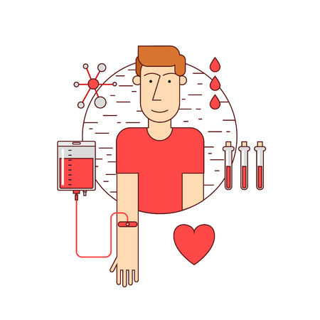 donate: Thin line Man donates blood. Blood donation icons flat style. Illustration