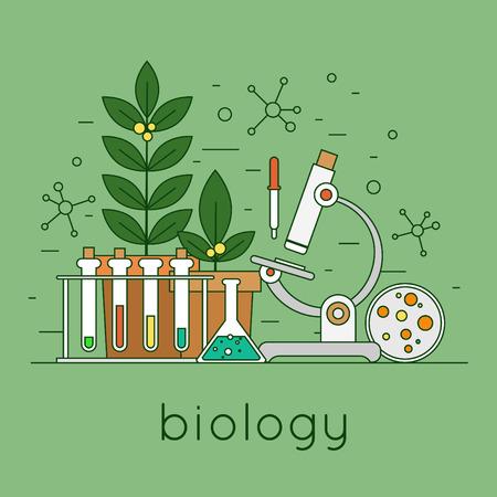 experimento: Espacio de trabajo de laboratorio de biología delgada línea y el concepto de equipo de la ciencia. Ilustración vectorial Diseño plano.