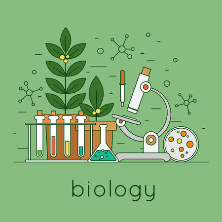 Thin line biology laboratory workspace and science equipment concept. Flat design vector illustration. Çizim