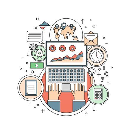 online business: Thin line Internet business concept. On-line Business. Flat design web analytics elements, optimization, programming process concept. Material design. Hands on the laptop. Illustration