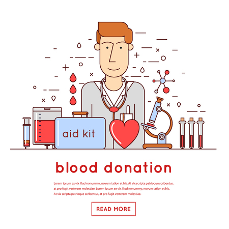 corporate group: Thin line Doctor takes a blood donation. Blood donation icons flat style.