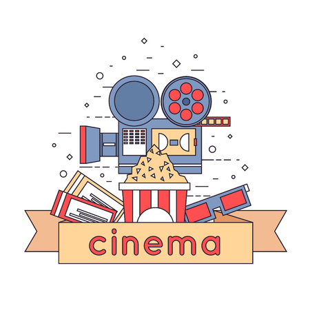 cinema viewing: Thin line Cinema icons in circle. Tickets, cinema, glasses, popcorn. Flat icons vector illustration.