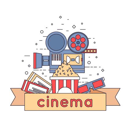 cinema: Thin line Cinema icons in circle. Tickets, cinema, glasses, popcorn. Flat icons vector illustration.