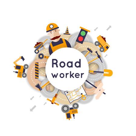 constructions: Road worker repair of roads, laying of asphalt. Flat design vector illustrations. Illustration