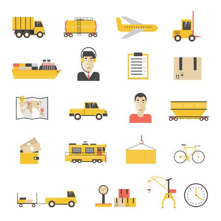 export import: Cargo transportation, logistic icons flat design.