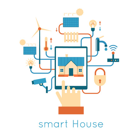 vector control illustration: Smart House Control of the house with the tablet. Flat design vector illustration.