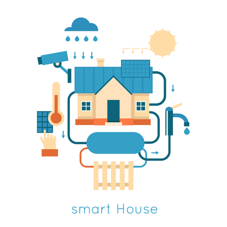 vector control illustration: Smart House centralized control of lighting, heating, video energy of nature. Flat design vector illustration.
