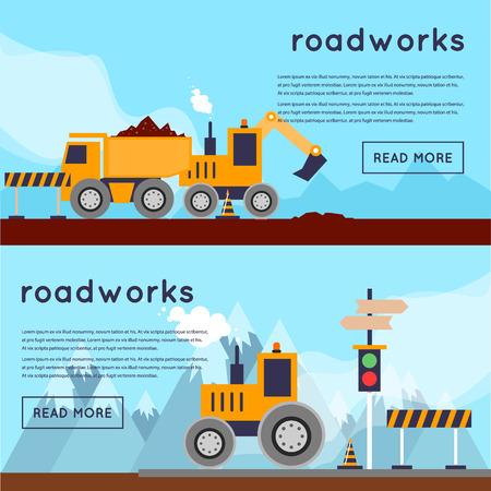 asphalt: Repair of roads, laying of asphalt. 2 banners. Flat design vector illustrations. Illustration