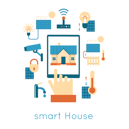 vector control illustration: Smart House Control of the house with the tablet icons flat set isolated vector illustration.
