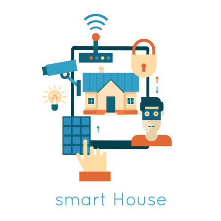 centralized: Smart House house technology system with centralized control security and video surveillance. Flat design vector illustration.