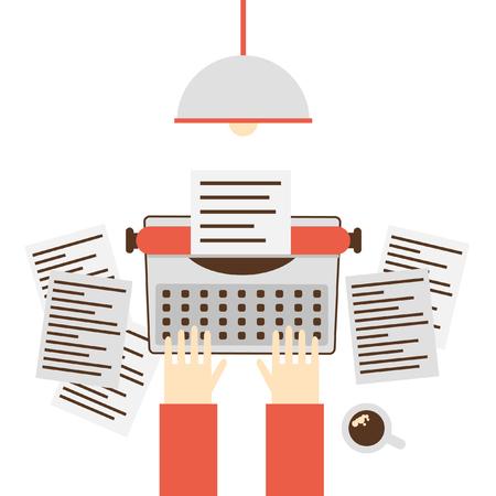 type writer: Writer, Copywriter, writers block, typewriter. Flat design vector illustration. Illustration