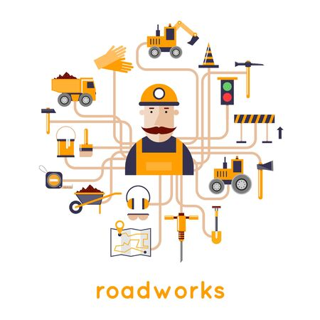 industrial safety: Road worker repair of roads, laying of asphalt. Flat design vector illustrations. Illustration