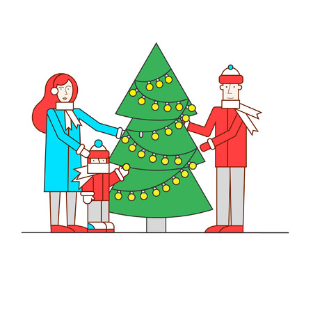 decorates: Merry Christmas and Happy New Year Family decorates Christmas tree thin line. Flat design vector illustration.