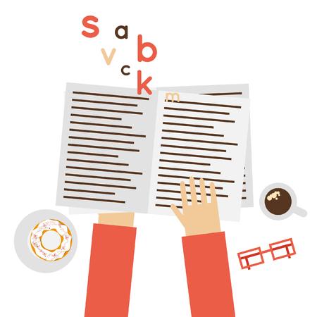 tabloid: Reading a newspaper, News. Flat design vector illustration.