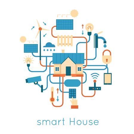 스마트 하우스는 조명, 난방, 비디오, 자연의 보안 에너지의 제어를 중앙 집중식. 플랫 디자인 벡터 일러스트 레이 션.