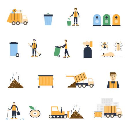 basura: La recolección de basura, cubo de basura, la separación de residuos, recolección de basura, los iconos conjunto conserje. Ilustración vectorial Diseño plano.