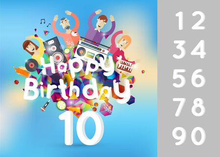 editable invitation: Happy birthday card invitation with number editable and abstraction of geometric shapes funny company.