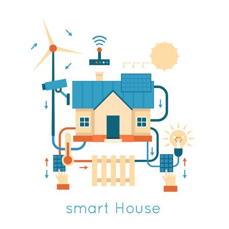 energia solar: Smart House centralizado de control de iluminación, calefacción, energía video de la naturaleza. Ilustración vectorial Diseño plano.
