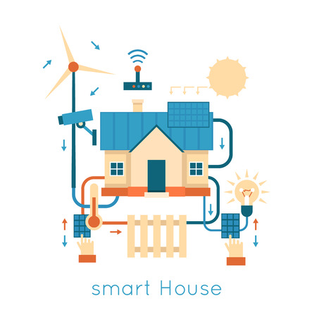 Smart House centralized control of lighting, heating, video energy of nature. Flat design vector illustration.