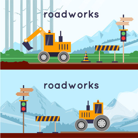 tractor warning sign: Repair of roads, laying of asphalt. 2 banners. Flat design vector illustrations. Illustration